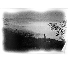 Pencil Sketch - Mist in the Valley - Assisi Poster