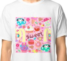 Cute pattern with sweets and kawaii little girl Classic T-Shirt