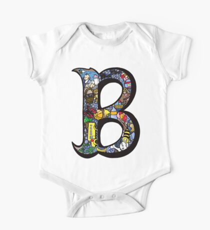 Doodle Letter B One Piece - Short Sleeve