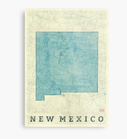 New Mexico State Map Blue Vintage Metal Print