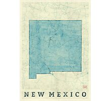 New Mexico State Map Blue Vintage Photographic Print