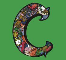 Doodle Letter C One Piece - Short Sleeve