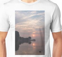 Soft Dawn - Pink Fog, Placid Water and a Duck  Unisex T-Shirt