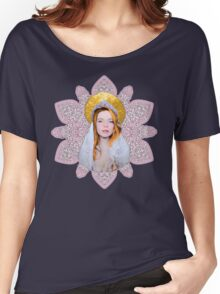 Saint Lindsay Icon Saturated 50 PINK Double Lace Women's Relaxed Fit T-Shirt