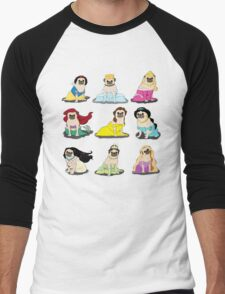 Pug Princesses Version 2 Men's Baseball ¾ T-Shirt