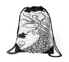 Rural Sunset in ink Drawstring Bag