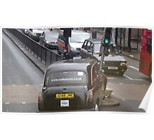 Crashed London Taxi Cab Poster
