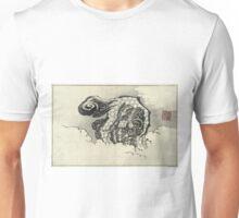 Chinese Lion Dog - Hokusai Katsushika - 1880 - woodcut Unisex T-Shirt