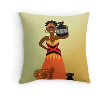African Tribal Woman Carrying Pitchers Of Water Home Throw Pillow