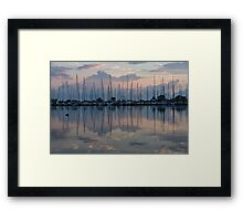 Pink, White and Blue Silky Mirror - Boat Reflections and a Grebe Framed Print