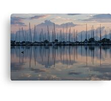 Pink, White and Blue Silky Mirror - Boat Reflections and a Grebe Canvas Print