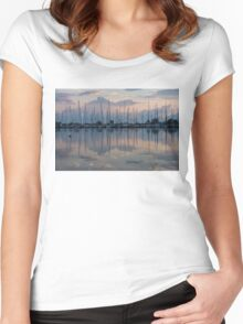 Pink, White and Blue Silky Mirror - Boat Reflections and a Grebe Women's Fitted Scoop T-Shirt
