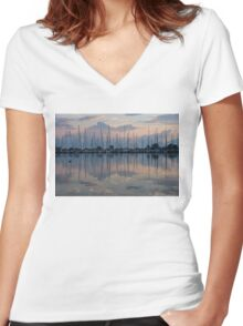 Pink, White and Blue Silky Mirror - Boat Reflections and a Grebe Women's Fitted V-Neck T-Shirt