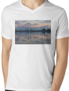 Pink, White and Blue Silky Mirror - Boat Reflections and a Grebe Mens V-Neck T-Shirt