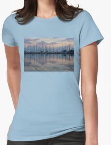 Pink, White and Blue Silky Mirror - Boat Reflections and a Grebe Womens Fitted T-Shirt