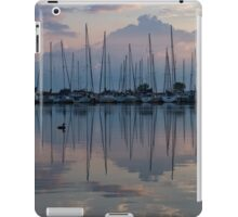 Pink, White and Blue Silky Mirror - Boat Reflections and a Grebe iPad Case/Skin