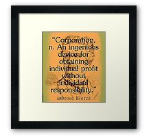Corporation - Bierce Framed Print