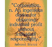 Corporation - Bierce Photographic Print