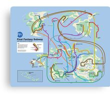 Final Fantasy Subway - NES Maps Series Canvas Print