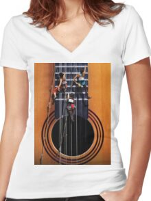 Surreal Guitar Climbers Women's Fitted V-Neck T-Shirt