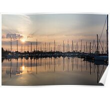 Crepuscular Rays - Golden Sunbeams Sunset Poster