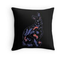 Psychedelic rabbit on black Throw Pillow