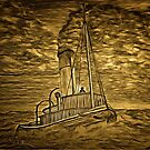 A digital painting of A Steam Tugboat by Dennis Melling