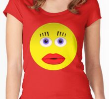 Smiley Female With Big Lips Women's Fitted Scoop T-Shirt