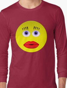 Smiley Female With Big Lips Long Sleeve T-Shirt