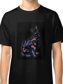Psychedelic rabbit on black Classic T-Shirt