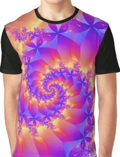 Multi-Coloured Spiral Fractal Graphic T-Shirt