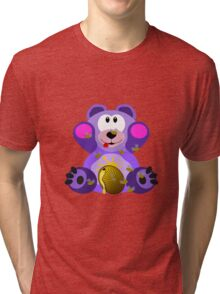 Purple Teddy Bear With Honey Tri-blend T-Shirt