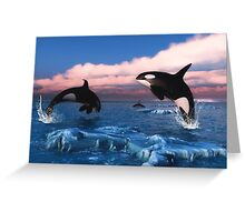 Killer Whales In The Arctic Ocean Greeting Card