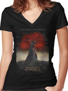 Pride and Prejudice and Zombies Movie - Have A Bloody Lovely New Year Women's Fitted V-Neck T-Shirt