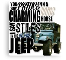 Stiles in a blue Jeep Canvas Print