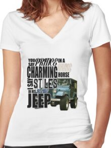 Stiles in a blue Jeep Women's Fitted V-Neck T-Shirt