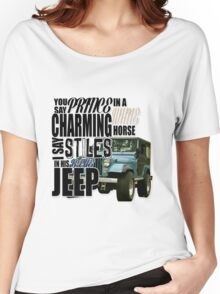 Stiles in a blue Jeep Women's Relaxed Fit T-Shirt