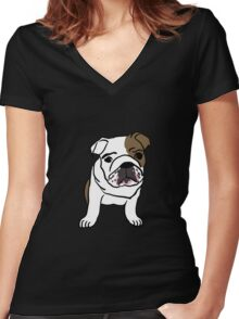 Cute Bulldog Women's Fitted V-Neck T-Shirt