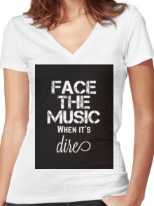 Marianas Trench Face The Music Black Women's Fitted V-Neck T-Shirt