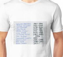 Doctor Who Artwork - The Doctors Chronology Unisex T-Shirt