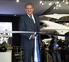Hugh Bonneville British actor opens the Sunseeker stand ... by Keith Larby