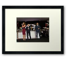 Hugh Bonneville British actor opens the Sunseeker stand ... Framed Print