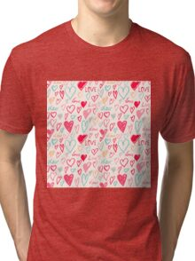 Hand painted hearts pattern Tri-blend T-Shirt