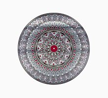 Hand Drawn Grey And Red Mandala Womens Fitted T-Shirt