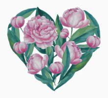 Watecolor Peony Illustration in a Heart Shape Kids Tee