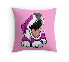 Laughing Bull Terrier White & Pink Throw Pillow