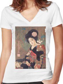 Vintage poster - Sakura Beer Women's Fitted V-Neck T-Shirt