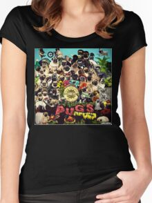 SGT PUGS LONELY HEARTS PUG BAND Women's Fitted Scoop T-Shirt