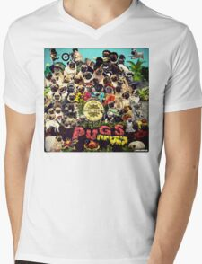 SGT PUGS LONELY HEARTS PUG BAND Mens V-Neck T-Shirt