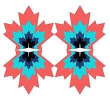 Canada Leaf Multicoloured Pattern Mirrored  by HenryCDavies